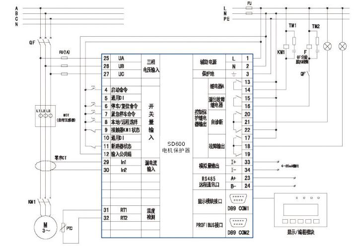 注:保护器电流规格应略大于电动机铭牌电流,当铭牌电流<100A时,主线路一次穿过自带电流互感器即可;当电流>100A时, 需外置二次电流为5A的保护型电流互感器,二次5A电流信号一次穿过自带电流互感器,CT变比可以在保护器内设置。选配功能可同 时选择多种,如果要选择漏电保护加温保护则功能代号为ST。保护器本体与显示模块采用标准DB9串口线连接,订货时需标清DB9 串口连接线长度,DB9串口线标配1米,可选1米、3米、5米三种长度